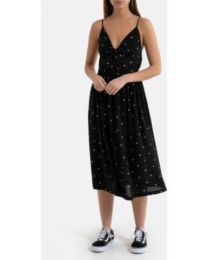 Платье с поясом с декольте с V-образным вырезом La Redoute