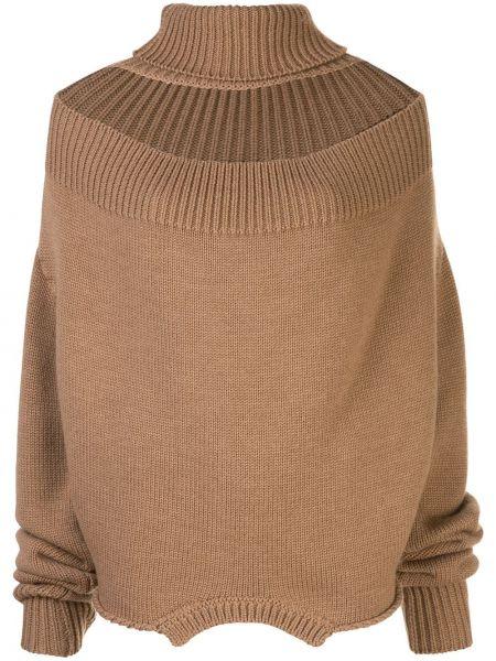 Шерстяной коричневый свитер в рубчик с декоративной отделкой Monse
