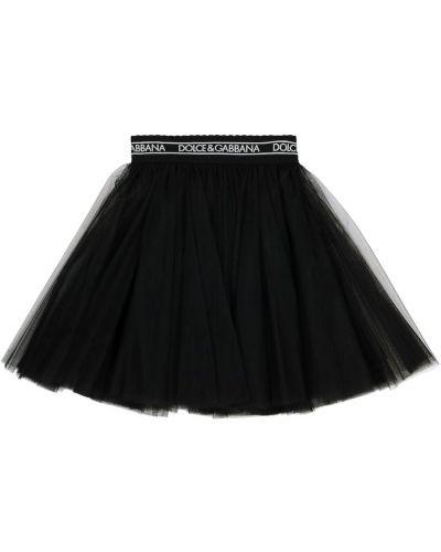 Юбка из фатина - черная Dolce & Gabbana Kids