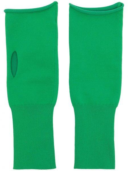 Zielone rękawiczki bez palców Jil Sander