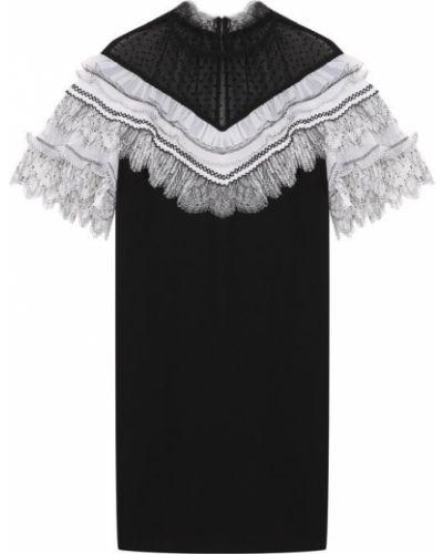 Платье мини на пуговицах с оборками Self-portrait