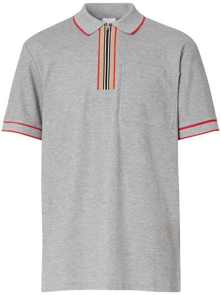 Bawełna prosto koszula z krótkim rękawem z kołnierzem z paskami Burberry