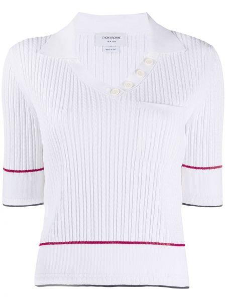 Klasyczny biały koszulka polo krótkie rękawy z wiskozy Thom Browne