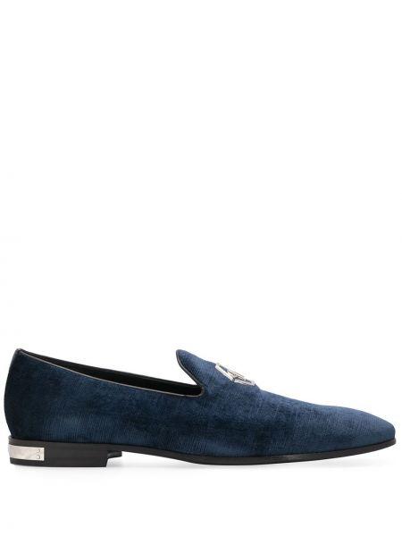 Niebieskie loafers skorzane Philipp Plein