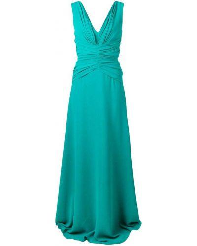 Вечернее платье с V-образным вырезом со складками Rhea Costa