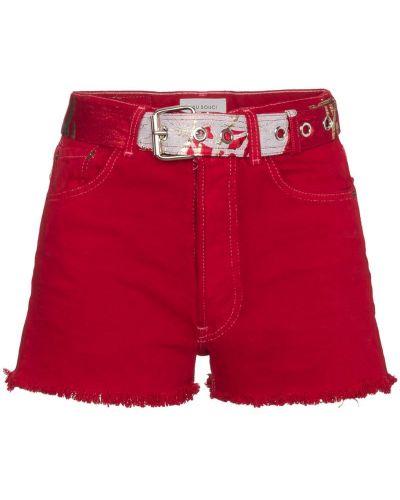 Красные джинсовые шорты со стразами Beau Souci