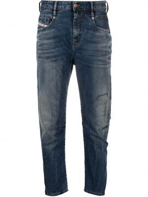 Хлопковые синие джинсы бойфренды на пуговицах Diesel
