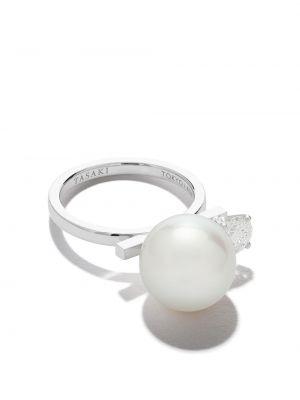 Z rombem biały pierścień z diamentem Tasaki
