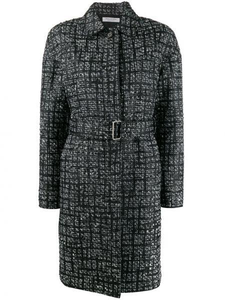 Шерстяное черное пальто классическое с воротником Philosophy Di Lorenzo Serafini