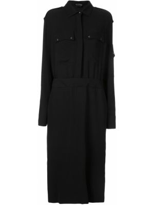 Черное платье миди с воротником милитари с карманами Tom Ford