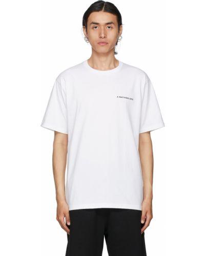 Белая хлопковая футболка Bape