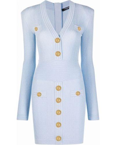 Платье макси длинное - синее Balmain