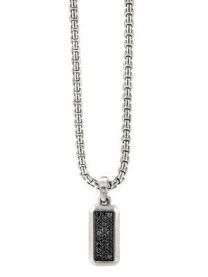 Серебряная подвеска с бриллиантом прямоугольная David Yurman
