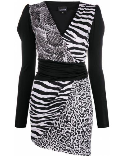 С рукавами пышное черное платье мини Just Cavalli