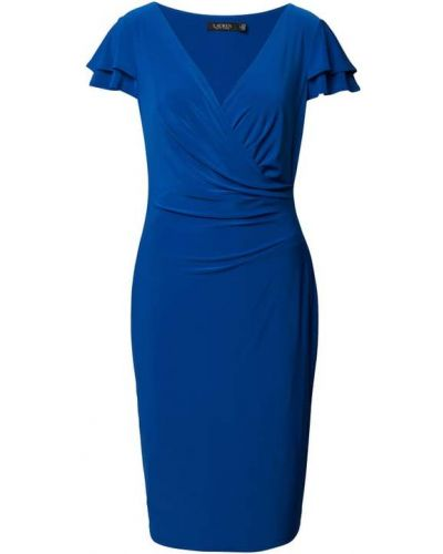 Niebieska sukienka midi z dekoltem w serek Lauren Ralph Lauren