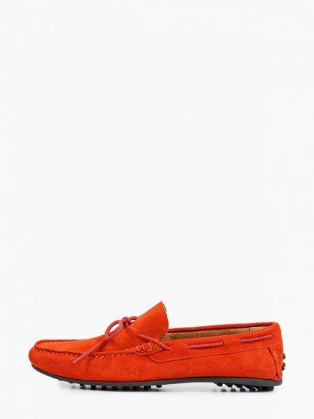Оранжевые кожаные мокасины Selected Homme