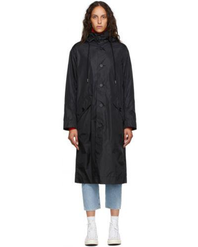 С рукавами черное длинное пальто с воротником с капюшоном Opening Ceremony