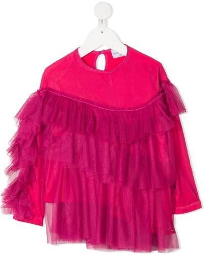 С рукавами розовая блуза из вискозы с круглым вырезом Raspberry Plum
