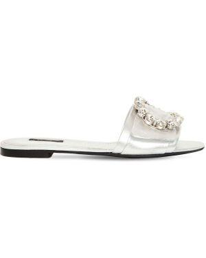 Шлепанцы на каблуке со стразами Dolce & Gabbana