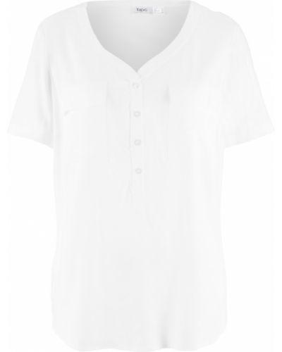 Белая блузка с короткими рукавами из вискозы Bonprix