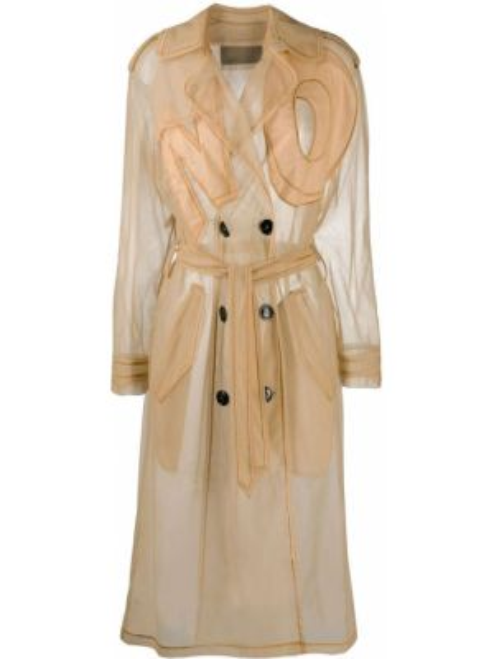 Нейлоновое пальто классическое двубортное с вышивкой Viktor & Rolf