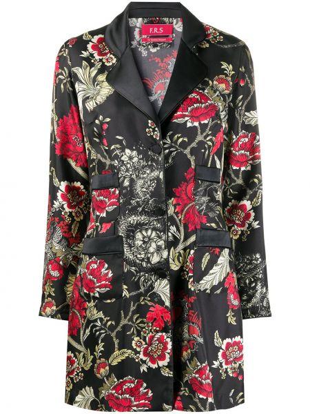 Шелковая черная классическая рубашка с воротником на пуговицах F.r.s. For Restless Sleepers