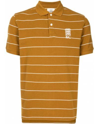 Коричневая рубашка с коротким рукавом с воротником с вышивкой на пуговицах Kent & Curwen
