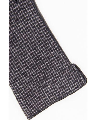 Кожаные перчатки шерстяные черные Finn Flare