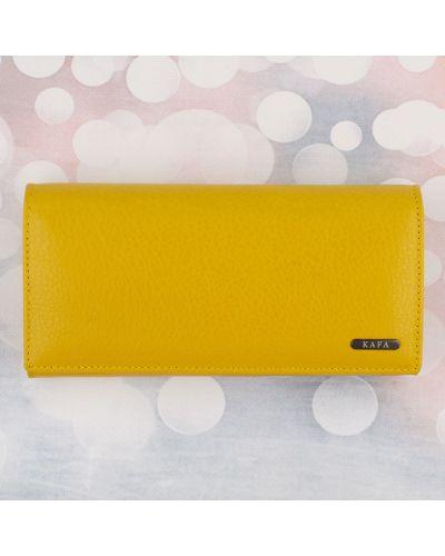 Кожаный кошелек - желтый Kafa