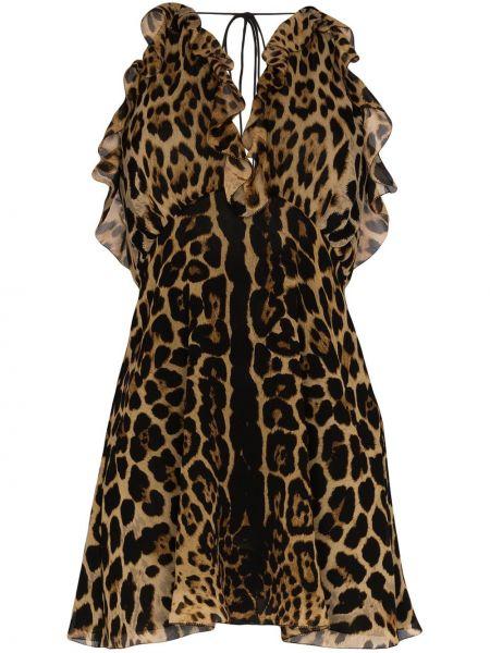 Платье с открытой спиной леопардовое Saint Laurent