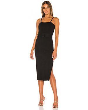 Нейлоновое черное платье миди в рубчик с поясом Finders Keepers