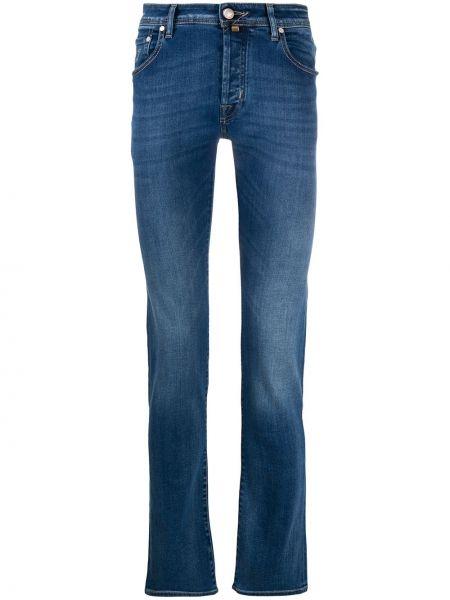 Klasyczny niebieski jeansy z łatami z paskiem Jacob Cohen