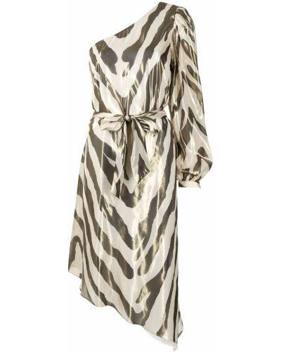 Złota sukienka asymetryczna w paski Haney