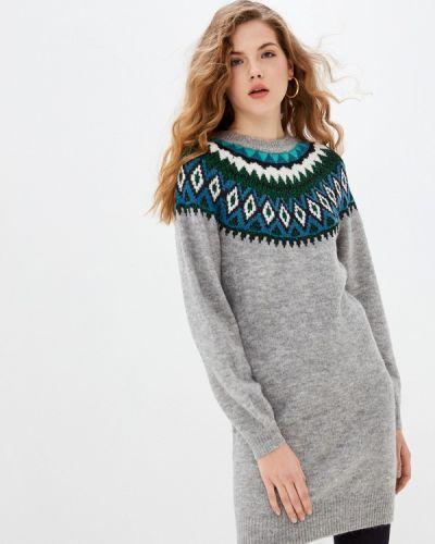 Серое вязаное трикотажное платье Naf Naf