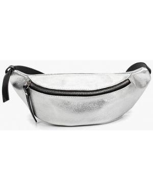 Поясная сумка кожаная серебряный Asya Malbershtein