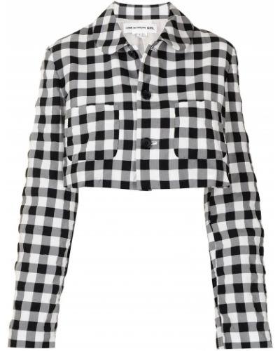 Черная короткая куртка в клетку с воротником Comme Des Garçons Girl