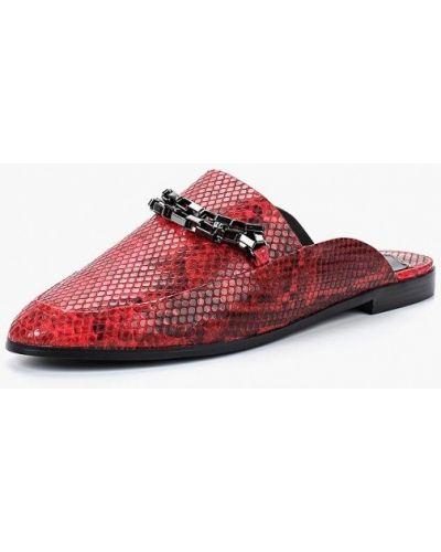Красное сабо кожаные Violeta By Mango
