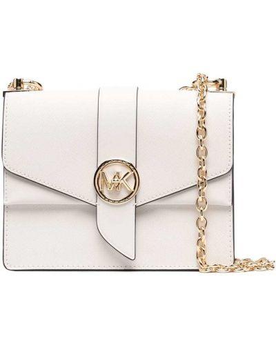С ремешком белая кожаная сумка на цепочке Michael Michael Kors