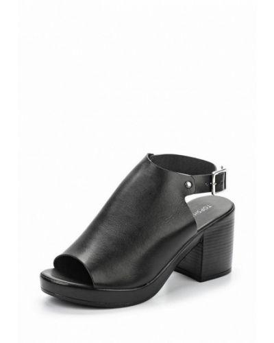 Босоножки на каблуке черные кожаные Topshop
