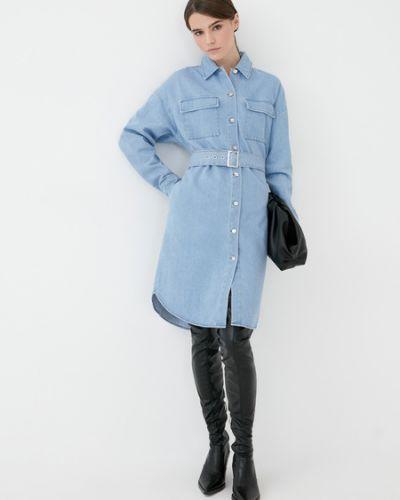 Хлопковое синее джинсовое платье Zarina