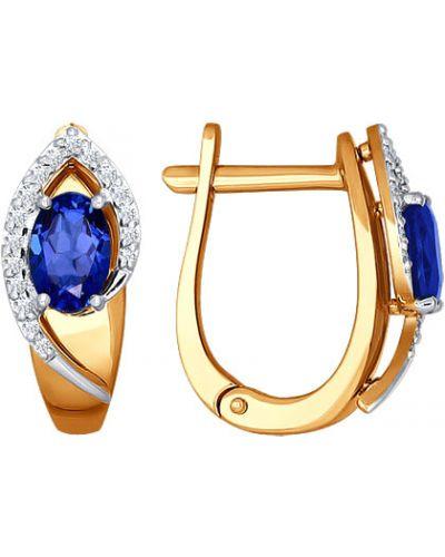 Золотые серьги с бриллиантом c сапфиром Sokolov