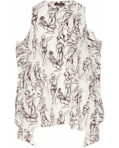 С рукавами шелковая белая блузка Chapurin