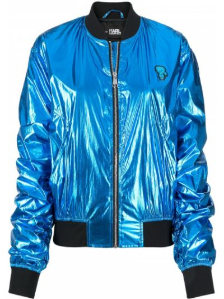 Z rękawami niebieski długa kurtka z kołnierzem metal Karl Lagerfeld