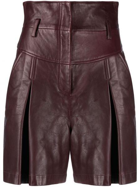 Кожаные шорты - красные Alberta Ferretti