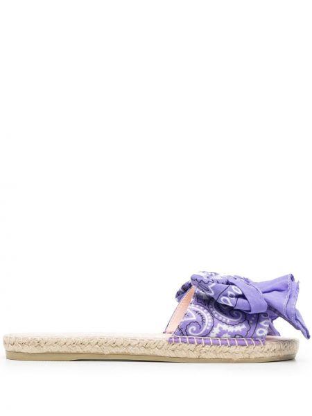 Фиолетовые открытые кожаные сандалии Manebi