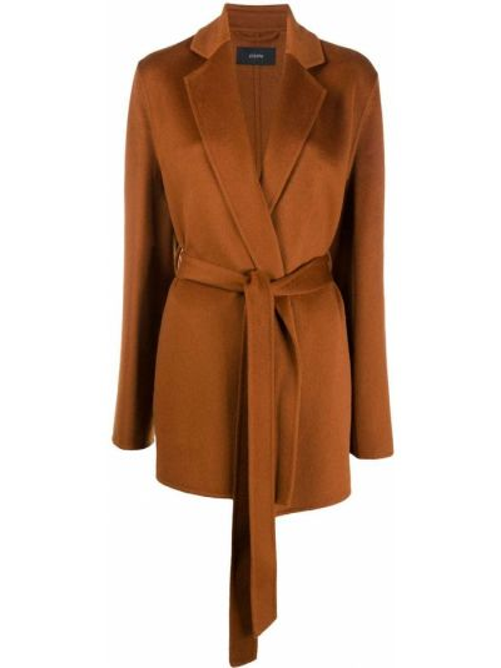 Коричневое вязаное шерстяное длинное пальто Joseph