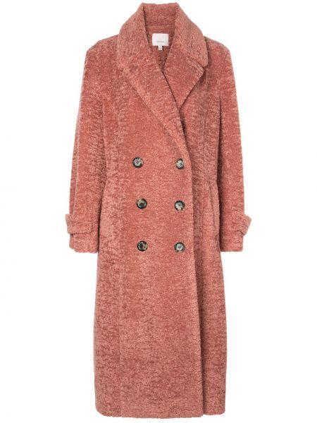 Розовое длинное пальто с капюшоном Cinq A Sept