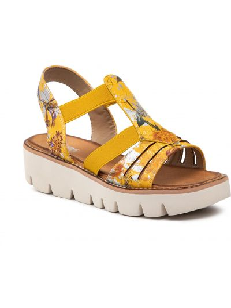 Sandały casual - żółte Rieker