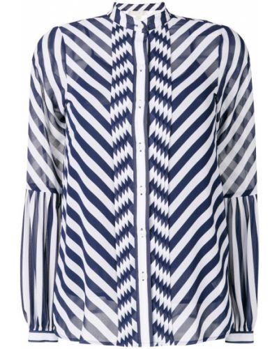 Блузка прямая в полоску с воротником-стойкой прозрачная Michael Michael Kors