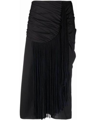 Шелковая юбка миди - черная Tory Burch